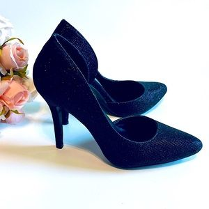 NEW LE CHATEAU Glitter Chic D'Orsay Pumps Black